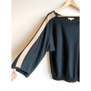 Joan Vass Black Oversized Bell Sleeve Sweater